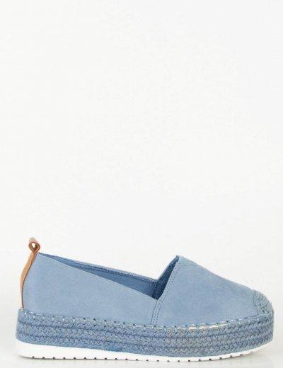 Γυναικείες μπλε εσπαντρίγιες σουέντ με ψάθα BL247L