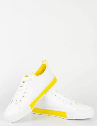 Γυναικεία λευκά κίτρινο χαμηλά Sneakers δερματίνη A8823L