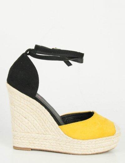Γυναικείες κίτρινες πλατφόρμες κλειστές ψάθινες VB9625Y