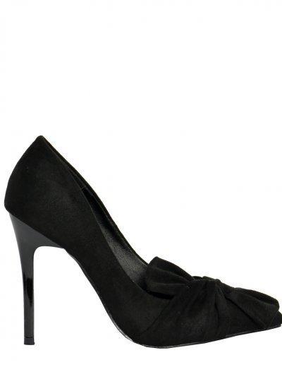 Γυναικείες μυτερές γόβες μαύρο σουέντ φιόγκος EL92