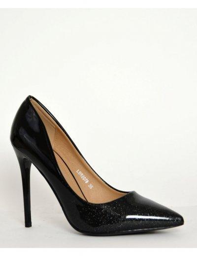 Γυναικείες ιριδίζουσες μυτερές γόβες μαύρες δίχρωμες LBS6078C