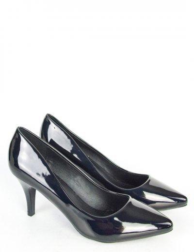 Γυναικείες μαύρες λουστρίνι γόβες χαμηλό τακούνι 5972
