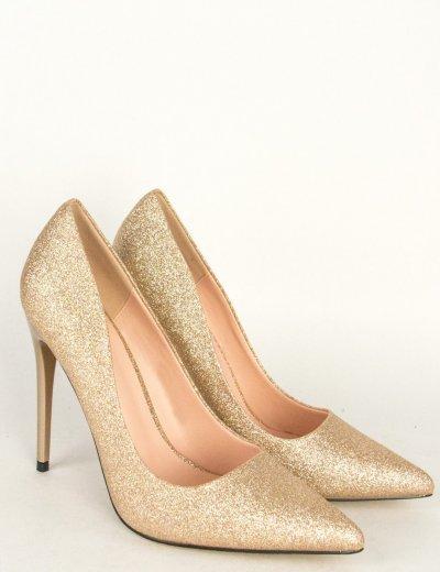 Γυναικείες χρυσές γόβες στιλέτο με strass BO103L
