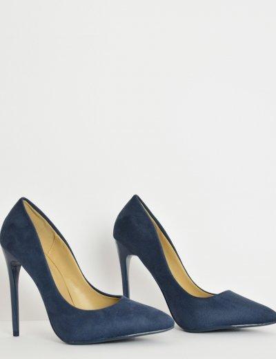 Γυναικείες μπλε μυτερές γόβες στιλέτο σουέντ B10J