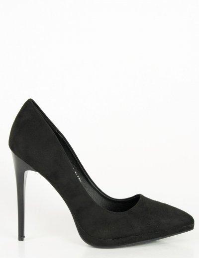 Γυναικείες μαύρες σουέντ γόβες ψηλοτάκουνες 1182F