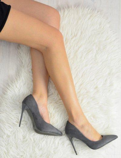 Γυναικείες μυτερές γόβες στιλέτο ανθρακί ψηλό τακούνι B10F