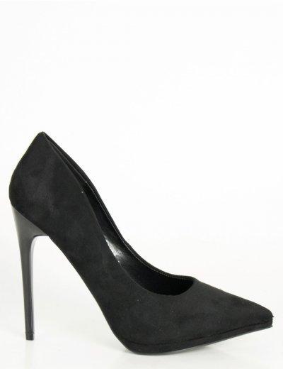 Γυναικείες μάυρες γόβες στιλέτο σουέντ SQ3108