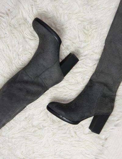 Γυναικείες μπότες suede ψηλές γκρι JN1106F