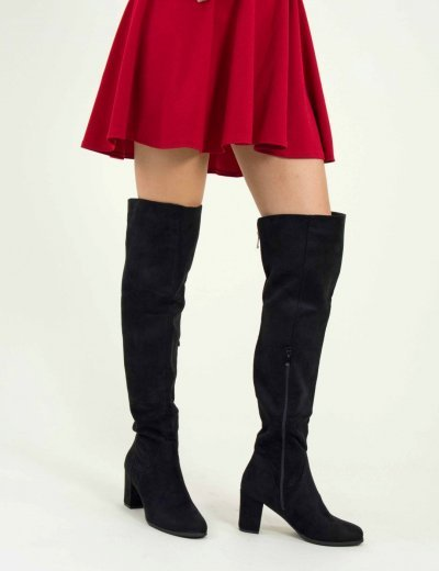 Γυναικείες μαύρες μπότες Over The Knee χοντρό τακούνι E5117F