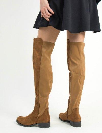 Γυναικείες κάμελ σουέντ μπότες Over Knee χαμηλές JS112