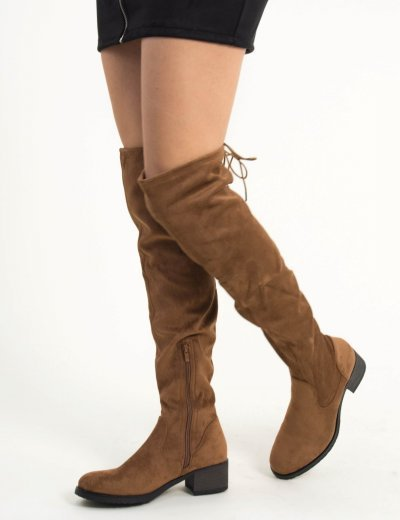 Γυναικείες κάμελ σουέντ χαμηλές μπότες Overknee MAH651