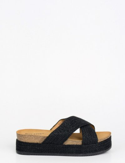 Γυναικεία χιαστί μαύρα Flatforms με ιριδίζουσα κλωστή TL8-34D