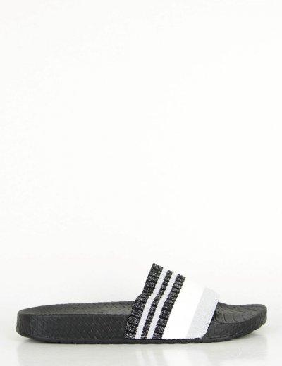 Γυναικείες μαύρες παντόφλες Pool Slide λάστιχο LA126