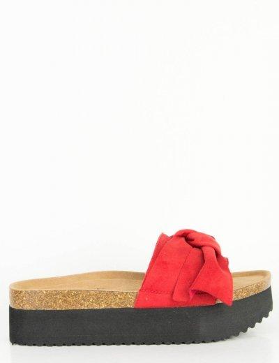Γυναικείες κόκκινες Flatforms παντόφλες σουέντ φιόγκος DCS0620