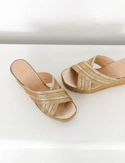 Γυναικείες χρυσές ψάθινες Flatform παντόφλες LEE071