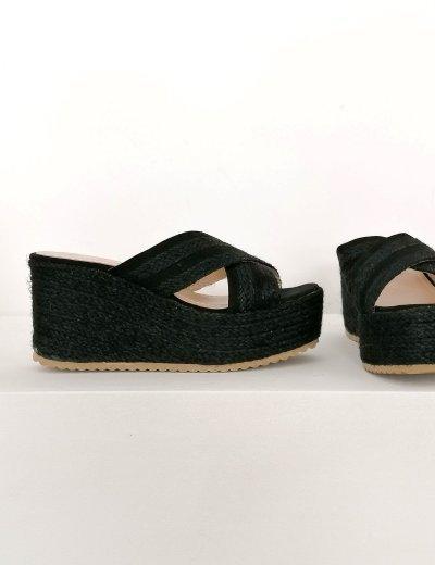 Γυναικείες μαύρες ψάθινες Flatform παντόφλες LEE071A