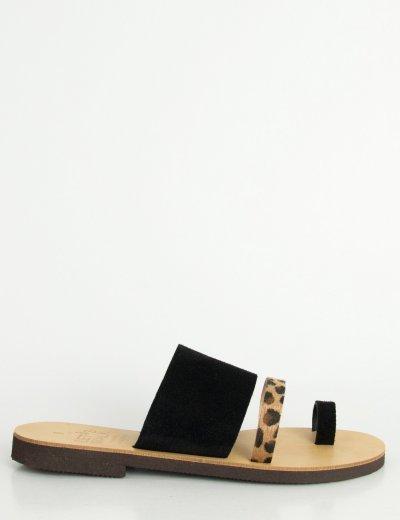 Γυναικεία μαύρα Flat σανδάλια με λουράκια λεοπάρ 183850G