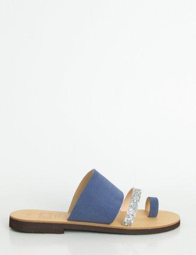 Γυναικεία σιέλ Flat σανδάλια με λουράκια Glitter 183850R