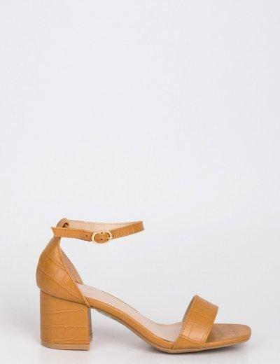 Γυναικεία κάμελ κροκό πέδιλα χοντρό τακούνι 9955A