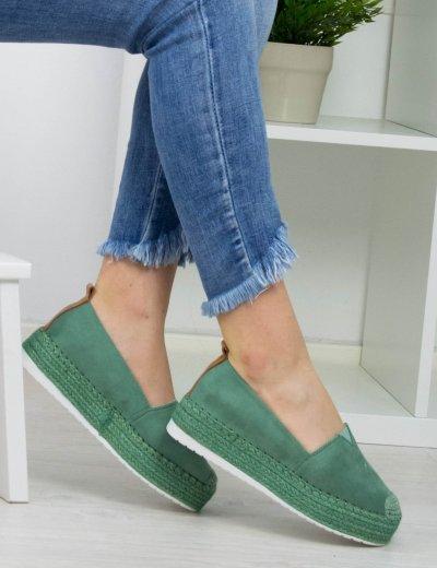 Γυναικείες πράσινες εσπαντρίγιες σουέντ με ψάθα BL247P