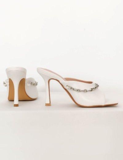 Γυναικεία λευκά mules πέδιλα με αλυσίδα BYJ2693G