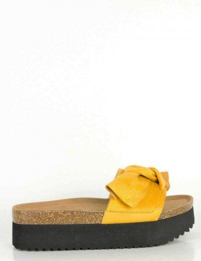 Γυναικείες κίτρινες Flatforms παντόφλες σουέντ φιόγκος DCS0620Q