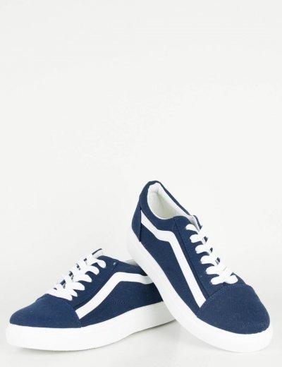 Γυναικεία μπλε πάνινα Sneakers με διχρωμία M622L