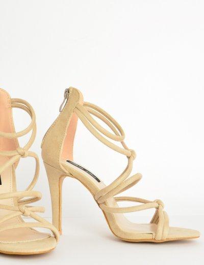 Γυναικεία πέδιλα καστόρ με laces ψηλοτάκουνα μπεζ L6117G