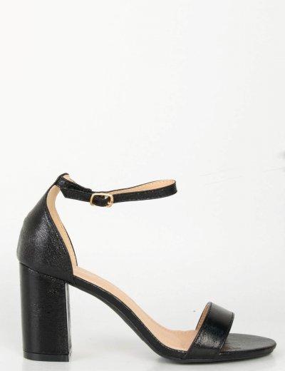 Γυναικεία μαύρα σαγρέ πέδιλα χοντρό τακούνι SE362