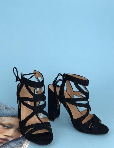 Γυναικεία μαύρα σουέντ πέδιλα χοντρό τακούνι ανοίγματα BKKX0326L