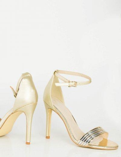 Γυναικεία χρυσά πέδιλα λεπτό τακούνι μπαρέτα PH089L