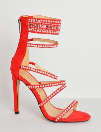 Γυναικεία ψηλοτάκουνα suede πέδιλα κόκκινα λεπτά λουριά πέρλες HP85