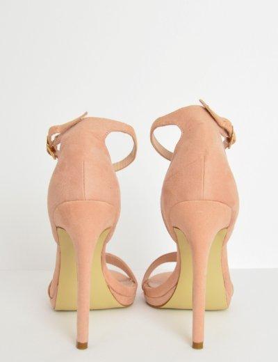Γυναικεία πέδιλα ψηλοτάκουνα suede μπαρέτα ροζ B70