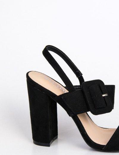 Γυναικεία μαύρα σουέντ πέδιλα με χοντρό τακούνι Y2385100S