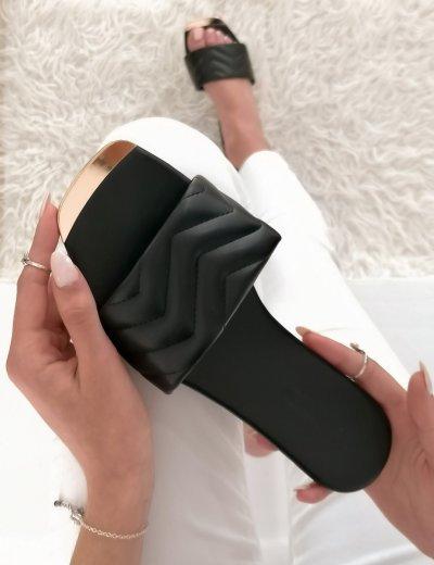 Γυναικείες μαύρες κροκό παντόφλες δερματίνη F1611V