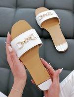 Γυναικείες λευκές παντόφλες με χρυσό σχέδιο BJ567Z