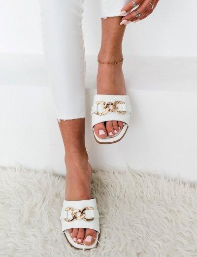 Γυναικείες λευκές κροκό παντόφλες με χρυσό σχέδιο RC111L