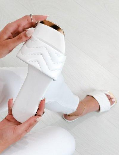 Γυναικείες λευκές κροκό παντόφλες δερματίνη F1611D