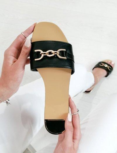 Γυναικείες μαύρες παντόφλες με χρυσό σχέδιο BJ567R