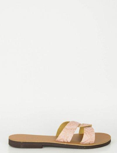 Γυναικεία ροζ snake print Flat σανδάλια Glitter 020020