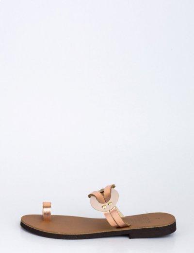 Γυναικεία ροζ χρυσό flat πέδιλα με λουράκια 189800