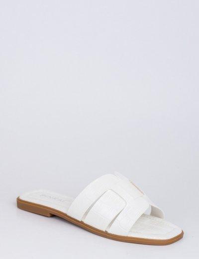 Γυναικείες λευκές κροκό παντόφλες Y8898L