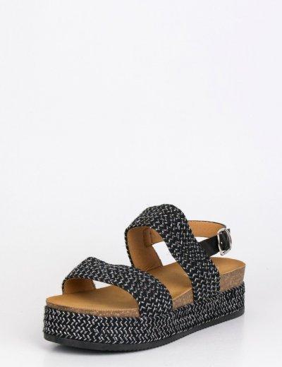 Γυναικεία μαύρα Flatforms με λουράκι 20351V