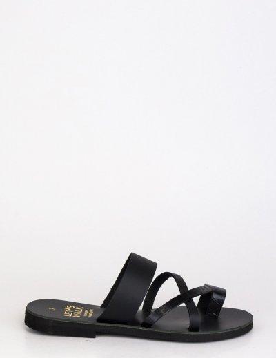 Γυναικεία μαύρα flat πέδιλα με λουράκια 20206