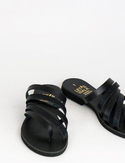 Γυναικεία μαύρα flat πέδιλα με λουράκια 070800V