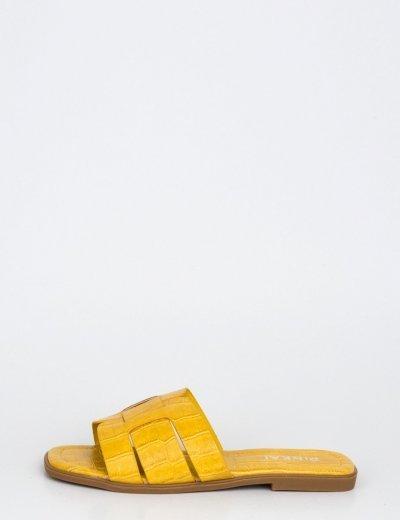 Γυναικείες ώχρα κροκό παντόφλες Y8898K