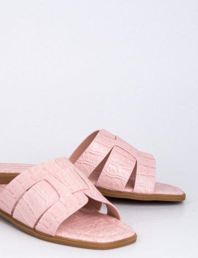 Γυναικείες ροζ κροκό παντόφλες Y8898R