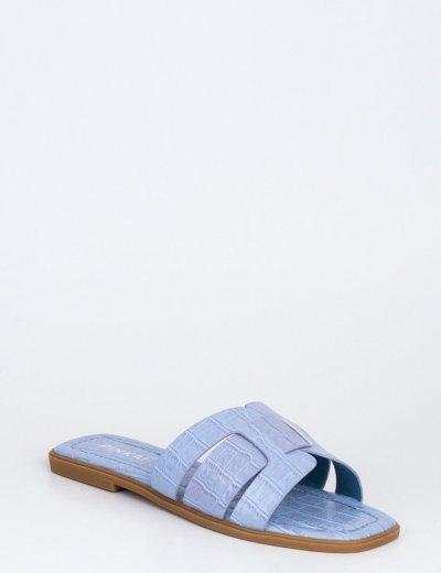 Γυναικείες σιέλ κροκό παντόφλες Y8898