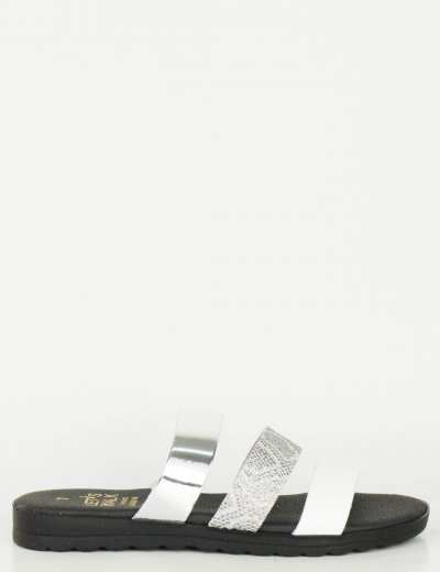 Γυναικεία λευκό ασημί Flat πέδιλα με λουράκια Glitter 120120