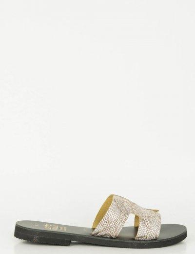 Γυναικεία ασημί snake print Flat σανδάλια Glitter 062062
